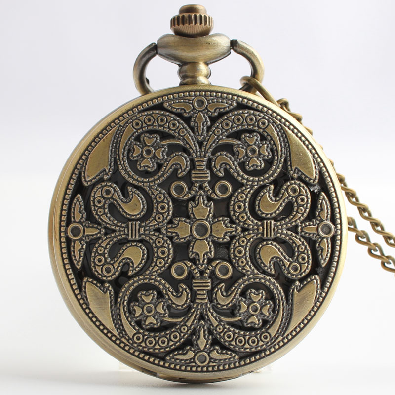 Pocket & Fob Watches Bronze Hollow Flower Carved Quartz Pocket Watch with Necklace Pendant Chain Watch for Men/women Gift