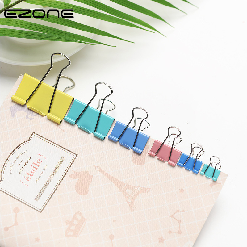 EZONE 20PCS Colorful Metal Binder Clips Paper Clips 15/19mm Wide Home Office Colorful Books File Paper Organizer Clip Food Clips