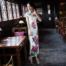 New Silk Printing Long Fund Cheongsam Chinese Tradition Dress Qipao Slim Fit Dresses Qi Pao China Vintage Robe Oriental Gown