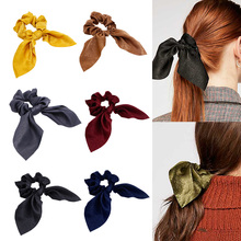 Women Girls Bunny Ears Scrunchie Hair Rope Velvet Tie Bows Elastic Ponytail Holder Bands  scrunchy for women