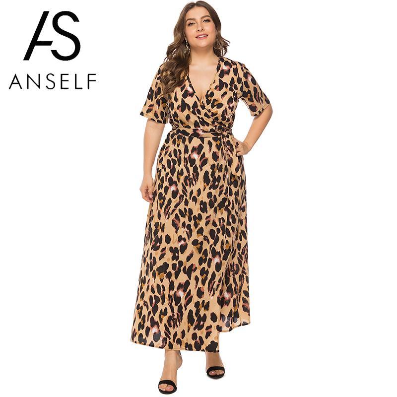 US $15.09 35% OFF|Women Leopard Dress 3XL 4XL 5XL 6XL Plus Size Summer  Dress 2019 Short Sleeve Beach Boho Dresses Elegant Ladies Long Maxi  Dress-in ...