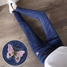 Новинка, джинсы для беременных с эластичной резинкой на талии, обтягивающие джинсовые штаны, Одежда для беременных с вышивкой бабочки, брюки для беременных женщин