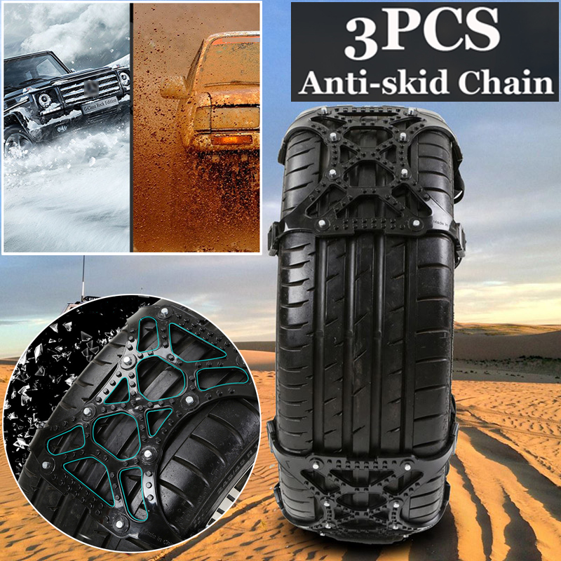 3pcs Durable Black New TPU + alloy Anti skid Tyre Chains Fits for most of the car tires Applicable for ice road  snow road|Tire Chains| |  - title=