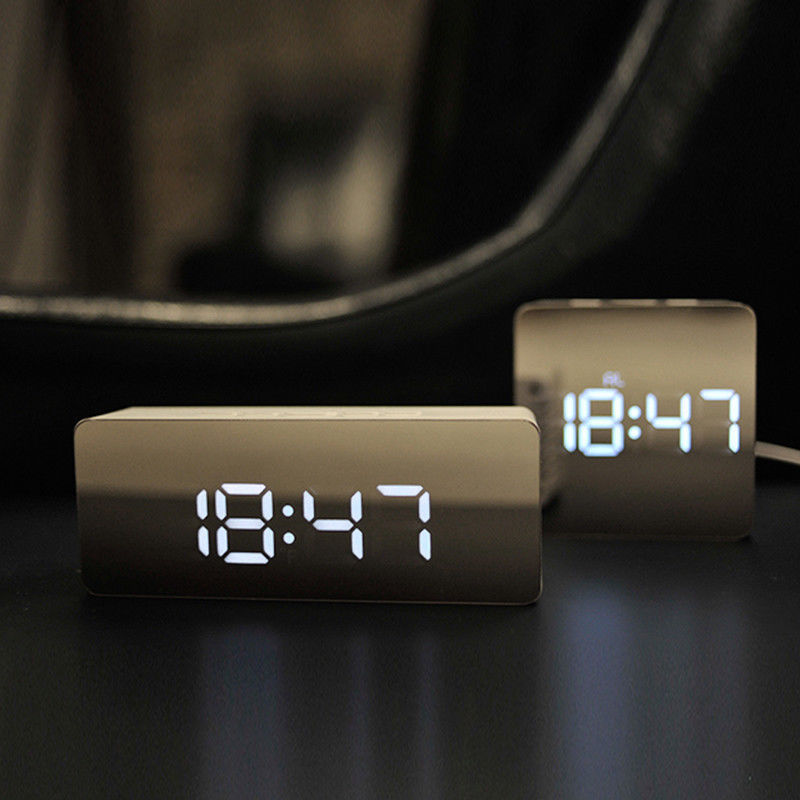 New Creative LED Digital Alarm Clock Night Lamp Thermometer Display Mirror Light