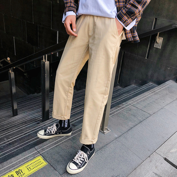 Spring New Pants Men Fashion Solid Color Straight Casual Trousers Man Streetwear Trend Wild Hip Hop Loose Joggers Sweatpants autumn new joggers pants men fashion contrast color casual sweatpants men streetwear loose hip hop trousers man track pants
