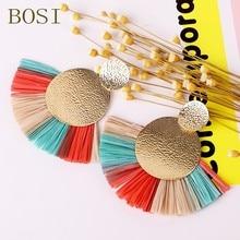 Women Tassel Earrings Boho Drop Big Bohemian Luxury Long Dangle Earring jewelry Handmade Geometric Fringe Fashion African Rattan