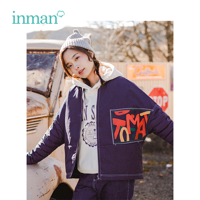 INMAN 2018 Winter New Arrival Baseball Collar Sport Style Letter Pattern Women Girl Causal Fashion   Down     Coat