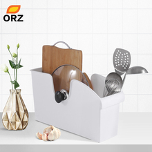 ORZ Kitchen Storage Box Bin with Rollers Cabinet Organizer Plastic Container Handle Tools Utensils Basket