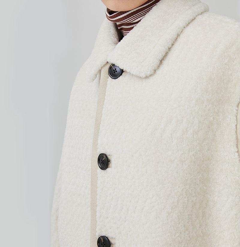 En Manches D'agneau eam Poitrine Épais Chaud Ld821 À Femme 2019 Printemps White down Unique Imitaion Col Laine Turn Couleur Longues Solide Manteau wUax4qwz
