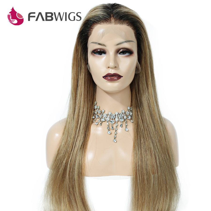 Fabwigs Ombre 1b/27 Honey Blonde Full Lace Human Hair Wigs Pre Plucked Brazilian Remy Human Hair Wigs With Baby Hair