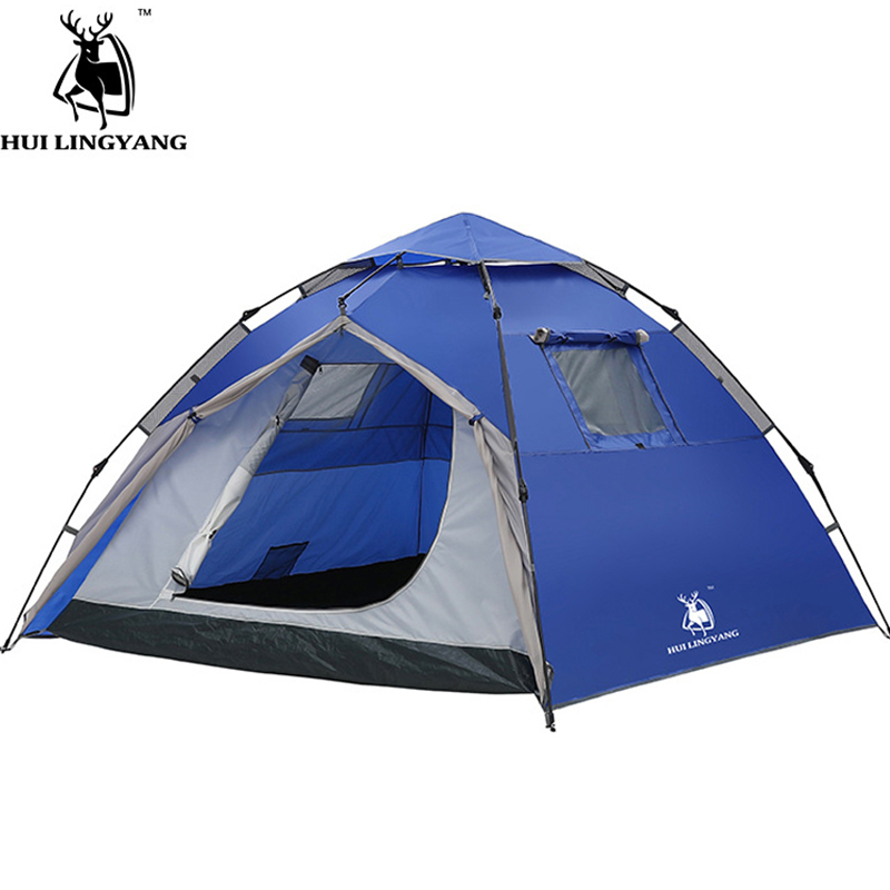 camping tent 3 4 people outdoor tents double open hydraulic automatic waterproof large beach climbing tent