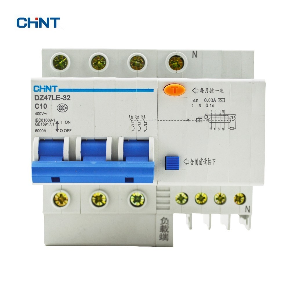 CHINT Earth Leakage Circuit Breaker 10A DZ47LE-32 3P+N C10 Low Voltage Circuit Breaker Home Air SwitchCHINT Earth Leakage Circuit Breaker 10A DZ47LE-32 3P+N C10 Low Voltage Circuit Breaker Home Air Switch