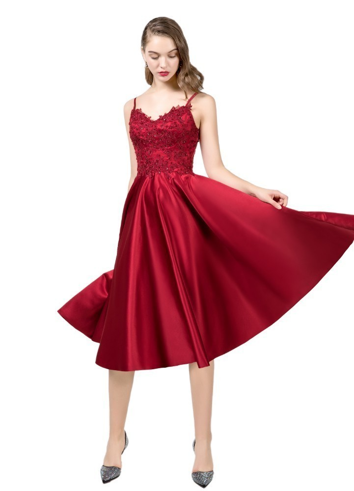 Vivian's Bridal 2018 Vintage Velour Wine   Prom     Dress   Sexy Deep V-neck Spaghetti Strap Velvet With Pocket Sequin Lace Party   Dress
