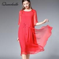 Queechalle Red Yellow Black Elegant Chiffon Dress Summer Women Solid Half Sleeve Loose Dress XL XXL XXXL 4XL Plus Size Dresses