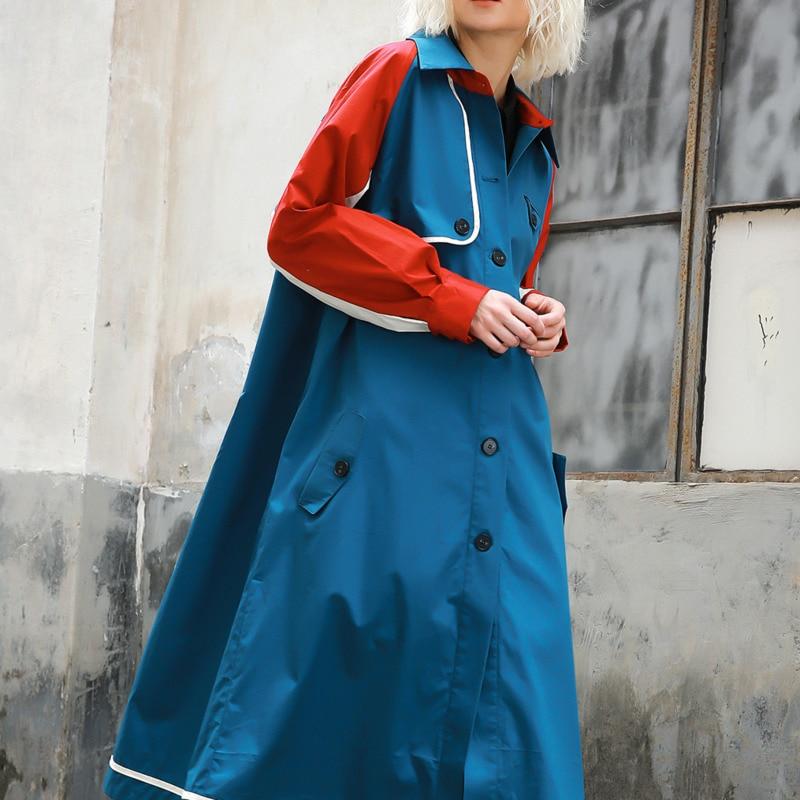 vent 2018 Pour Trench À Single Nouvelle Coupe Color Coat La Revers Spéciale Mode Picture Vêtements Lâche breasted Bd465 Offre Patchwork Femmes ewq TxdqTB