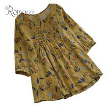 Romacci Vintage Women Cotton Linen Blouse Floral Print O-Neck 3/4 Sleeve Casual Loose Shirt Tee Shirt Tops Yellow/Green/Blue