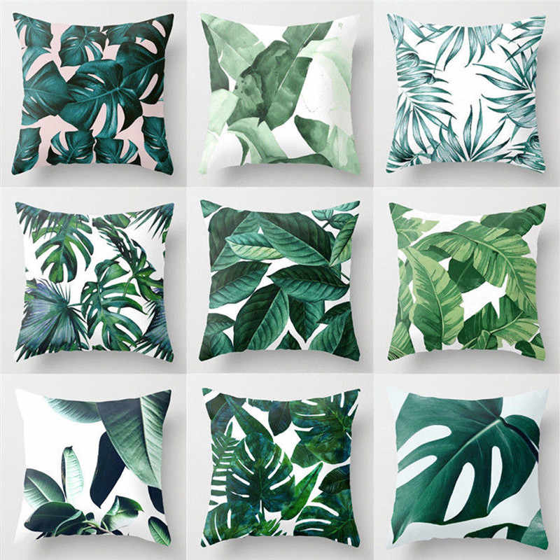 Floral Tropical Plant Leaves Pillow Case Cushion Cover Home Decor Rainforest Green Leaves Plants Throw Sofa Car Cushion Cover