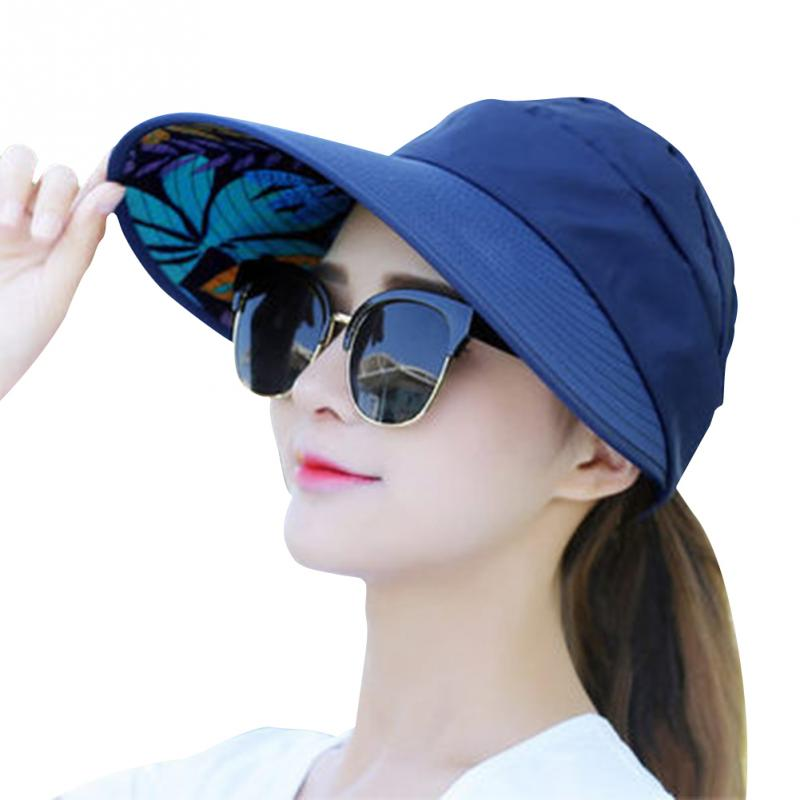 Summer Beach Sun Protection Folding Sun Hat For Women Wide Brim UV Protection Sun Hat Beach Packable Visor Hat For All Seasons