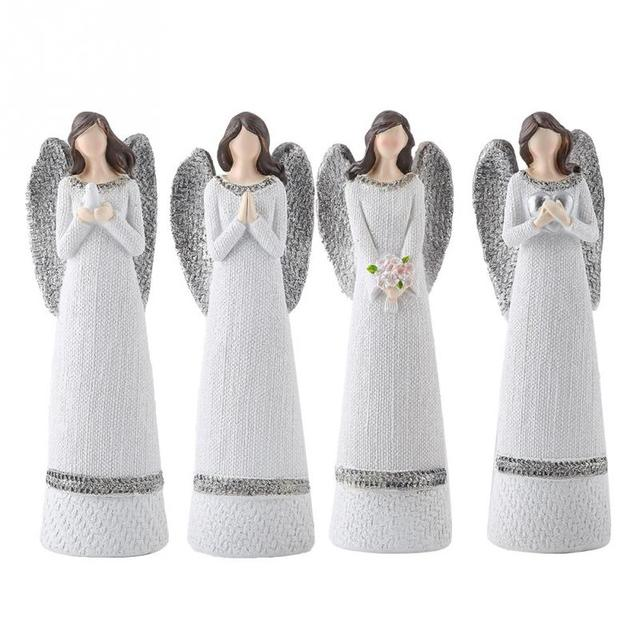 Resin Figures 20cm Resin White Beauty Sculpted Figure Table Ornaments Hand-painted Angel Figurine Home Decoration Accessories 1