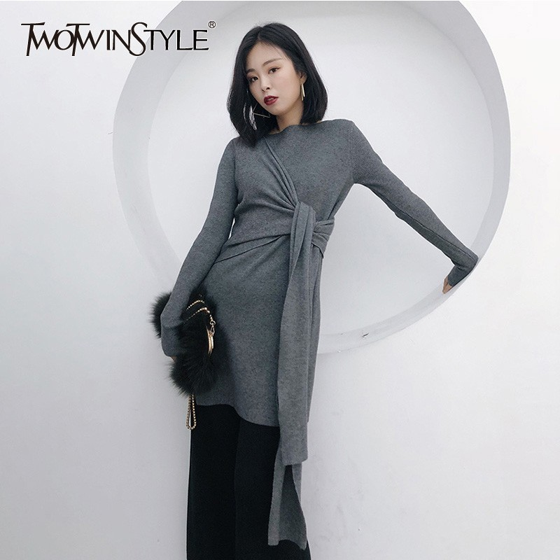 TWOTWINSTYLE Knitting Pullover Tops Female O Neck Long Sleeve Bandage Side Split Sweater Women Casual Fashion