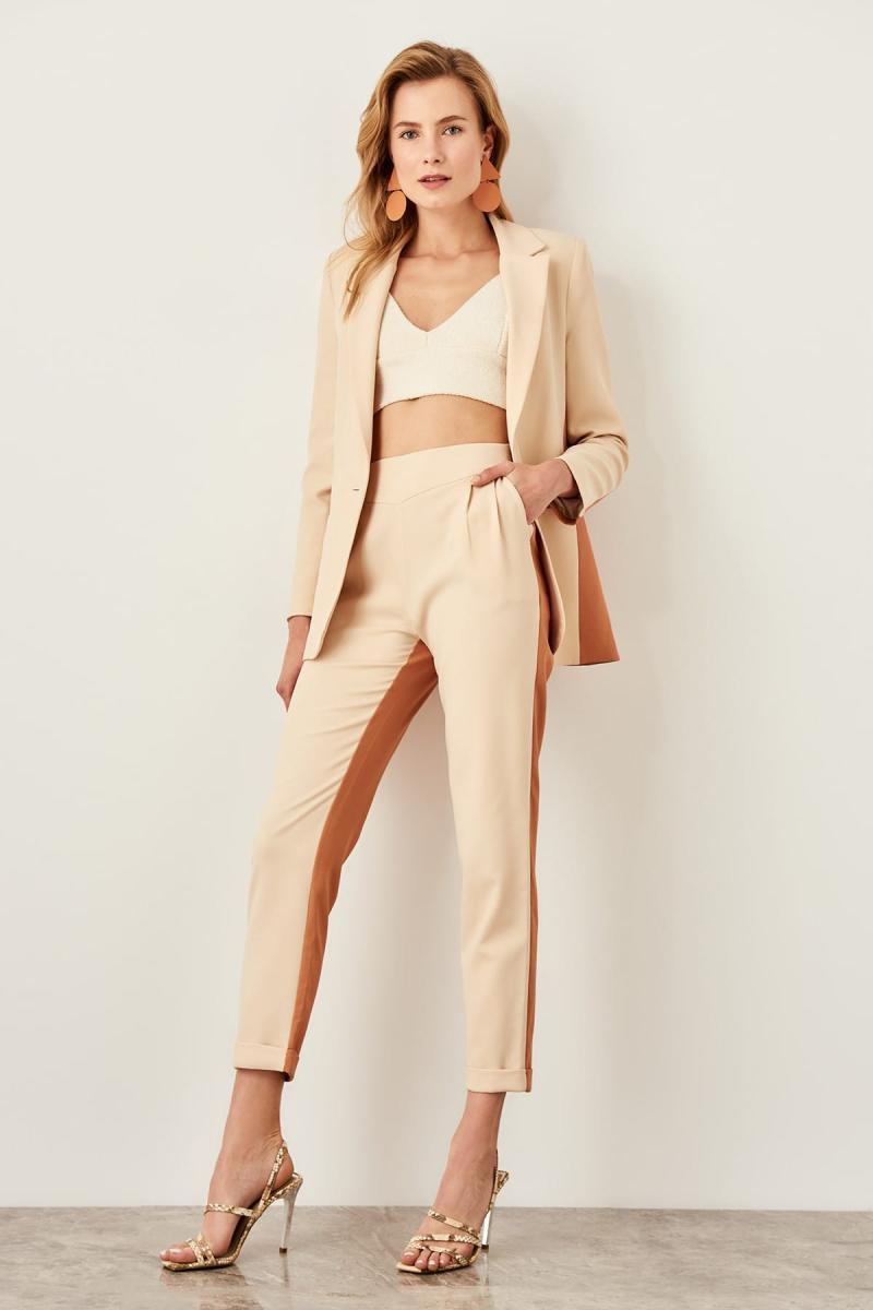 Trendyol Mink With Color Block Pants TWOSS19AA0024