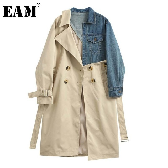 [EAM] 20120 New Spring Autumn Lapel Long Sleeve Khaki Hit Color Denim Stitcing Loose Sashes Windbreaker Women Fashion Tide JH638