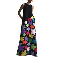 Women Long Floral Print Sundress Elegant O Neck Maxi Dress Summer Sleeveless Casual Flowers Print Sundress Beach Dress Vestidos
