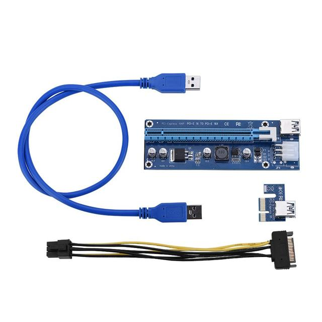 PCI Express PCI-E 1X to 16X Riser Card 6Pin 4Pin PCIE USB3.0 SATA Extension Cable for Miner Mining BTC Dedicated Adapter Card