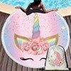 קריקטורה חד קרן 150cm עגול חוף מגבת קיר שטיח פיקניק שמיכת נייד חיצוני ספורט אחסון תיק צרור כיס ילדים מתנה