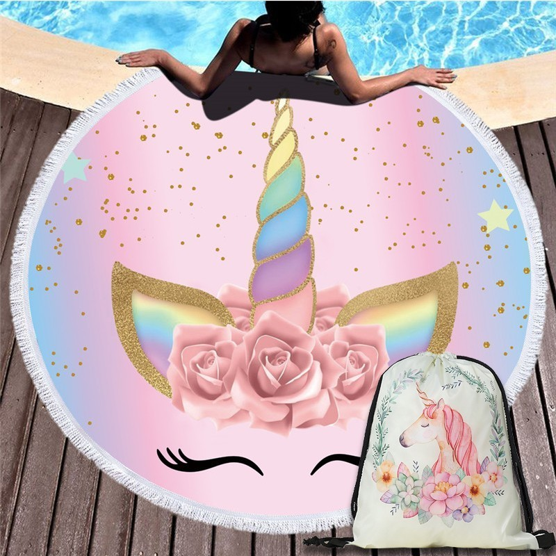 Beach Towel Bundle: Cartoon Unicorn 150cm Round Beach Towel Wall Tapestry