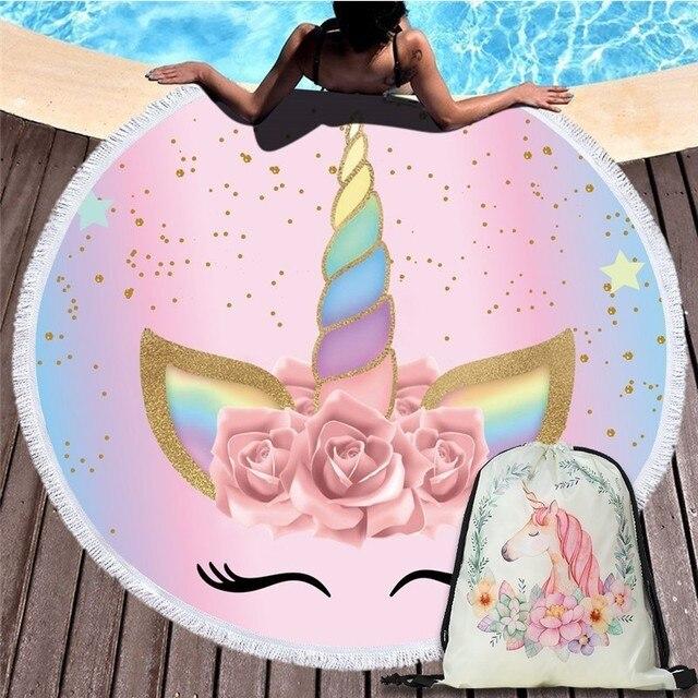 Hoạt hình Kỳ Lân Tròn 150 cm Đi Biển Tường Thảm Dã Ngoại Chăn Di Động Thể Thao Ngoài Trời Túi Bảo Quản Kèm Túi Trẻ Em Quà Tặng