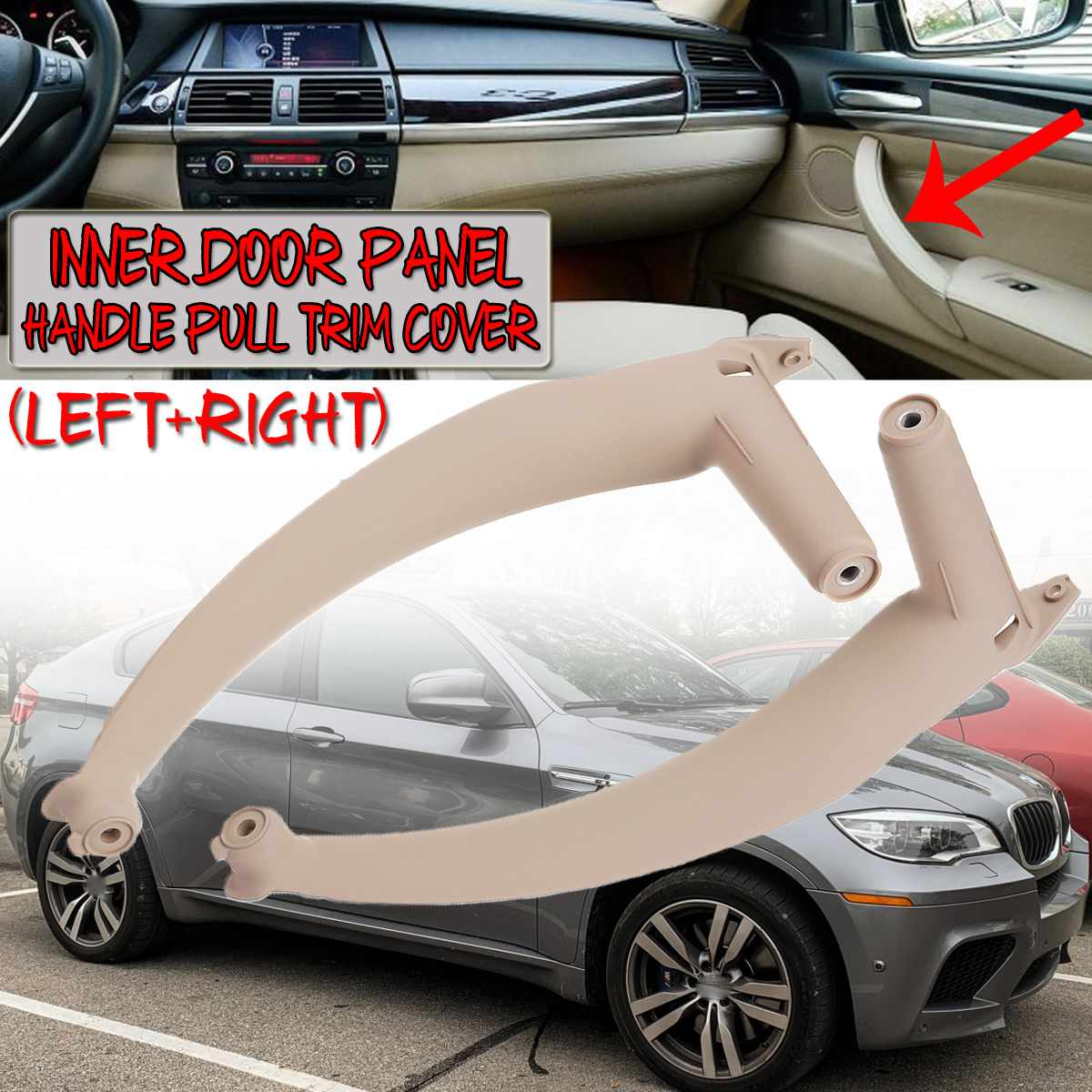3 Colors Inner Door Panel Handle Pull Trim Cover for BMW X5 X6 E70 E71