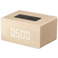 Bluetooth Speaker Digital Alarm Clock Wooden, V4.2 Portable Wireless Dual Driver Speakers, 1500 Mah, Led Time Display, Tf Card