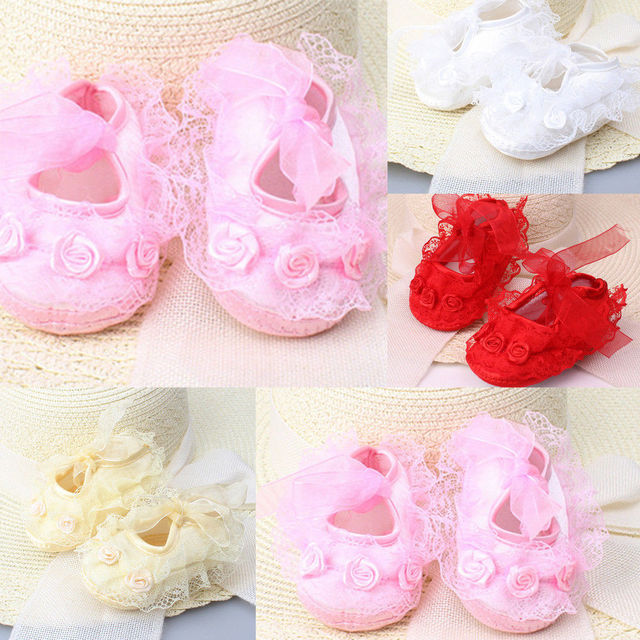 2019 Spring New Cute Baby Girls Newborn Infant Baby Toddler Lace Frilly Flower Non-Slip Shoes 5