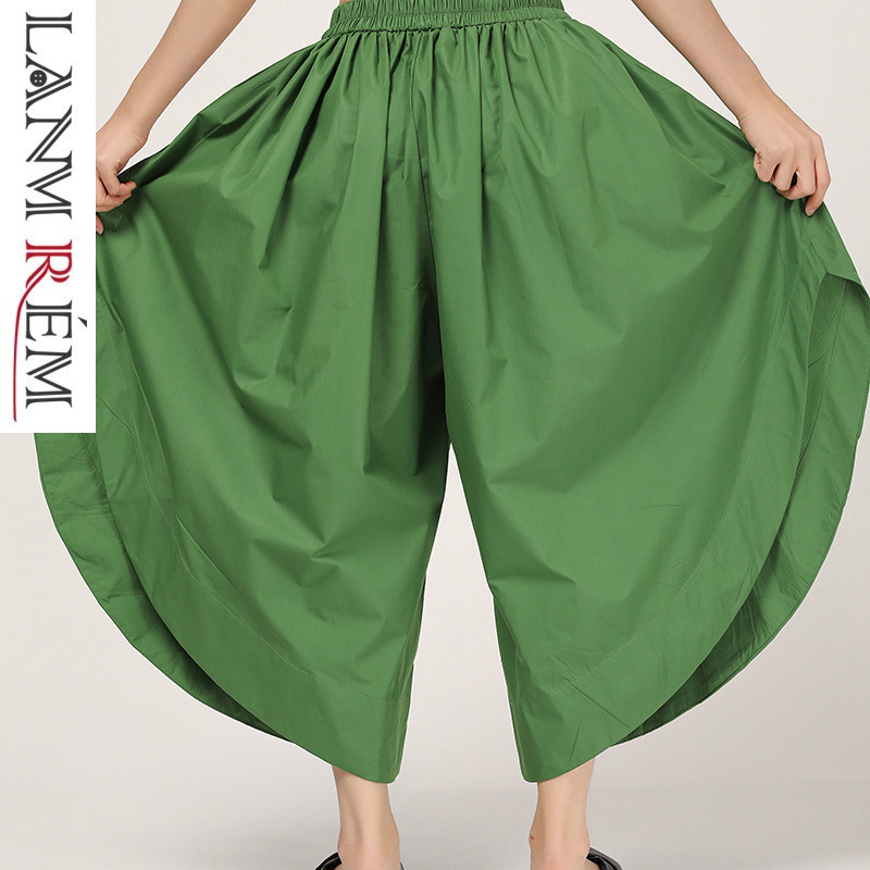 LANMREM 2019 New Summer Styles Fashion Women Thin Clothes Independent Design Asymmetrical   Wide     Legs     Pants   Vintage WF82006