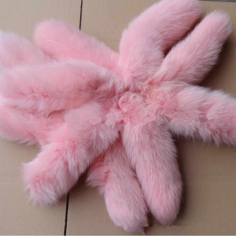 Mochila keychain chave acessórios anel chave das mulheres reais pele de raposa cauda chaveiro encantos anel fofo rosa cor vermelha A90