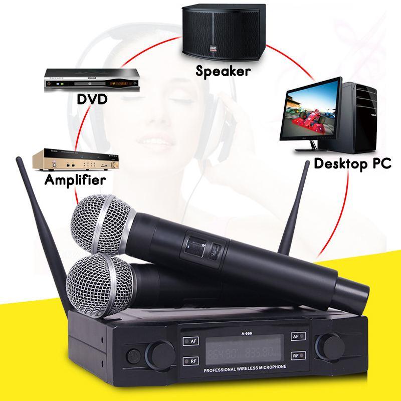 Système de Microphone sans fil UHF 2 canaux 2 micro portatif sans fil Kraoke fournitures de fête de la parole Microphone cardioïde professionnel - 6