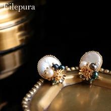 Eilepura Natural Fresh Water Baroque Pearl Handmade Stud Earring For Women Earrings Luxury Jewelry Pendientes Mujer E-A030