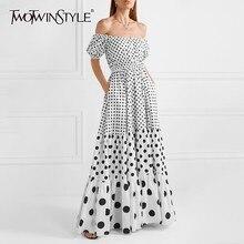 Deuxtwinstyle Polka Dot épaule dénudée femmes robe Slash cou bouffée manches taille haute Hit couleur Maxi robes femme mode été