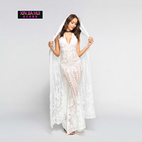 Full Fashion Suit Nightclub Dress Cloak White Lace Maxi Sexy perspective Masquerade Queen Dress Up Vintage Sundress