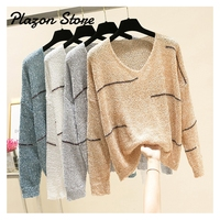 Metallic Threads Oversized Knit Sweater Loose Fashion Harajuku Knit Sweater White Gray Blue Color Pullover Sweater Women