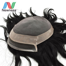 Newness Hair Fine Mono and PU Mens Toupee with Natural Lace Frontline Men Hairpieces Remy Human Hair Wig For Males(China)