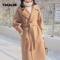 Plus Size Loose Warm Wool Blends Long Winter Coat Turn down Collar Adjustable Belt Wool Coats Women Office Work Wear Elegant