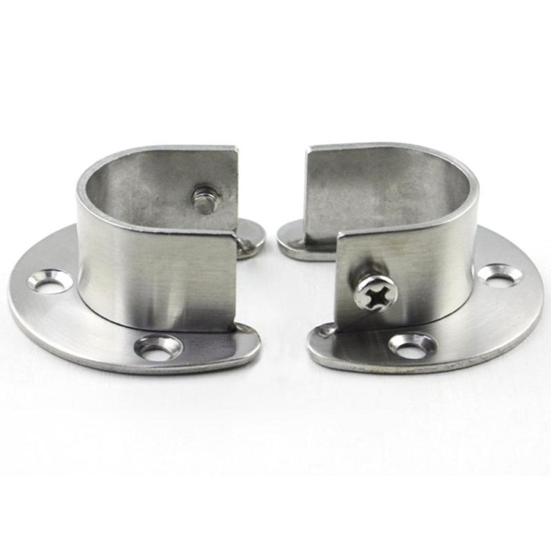 Closet Wardrobe Pipe Rail Rod End Pipe Support Bracket Curtain Ends 2Pcs