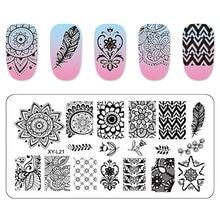Flamingo Kimcci Placas Prego Stamping Template Prego Mandala Maple Leaf Stamp Nail Art Stamp Template Imagem Stencil Manicure Ferramentas