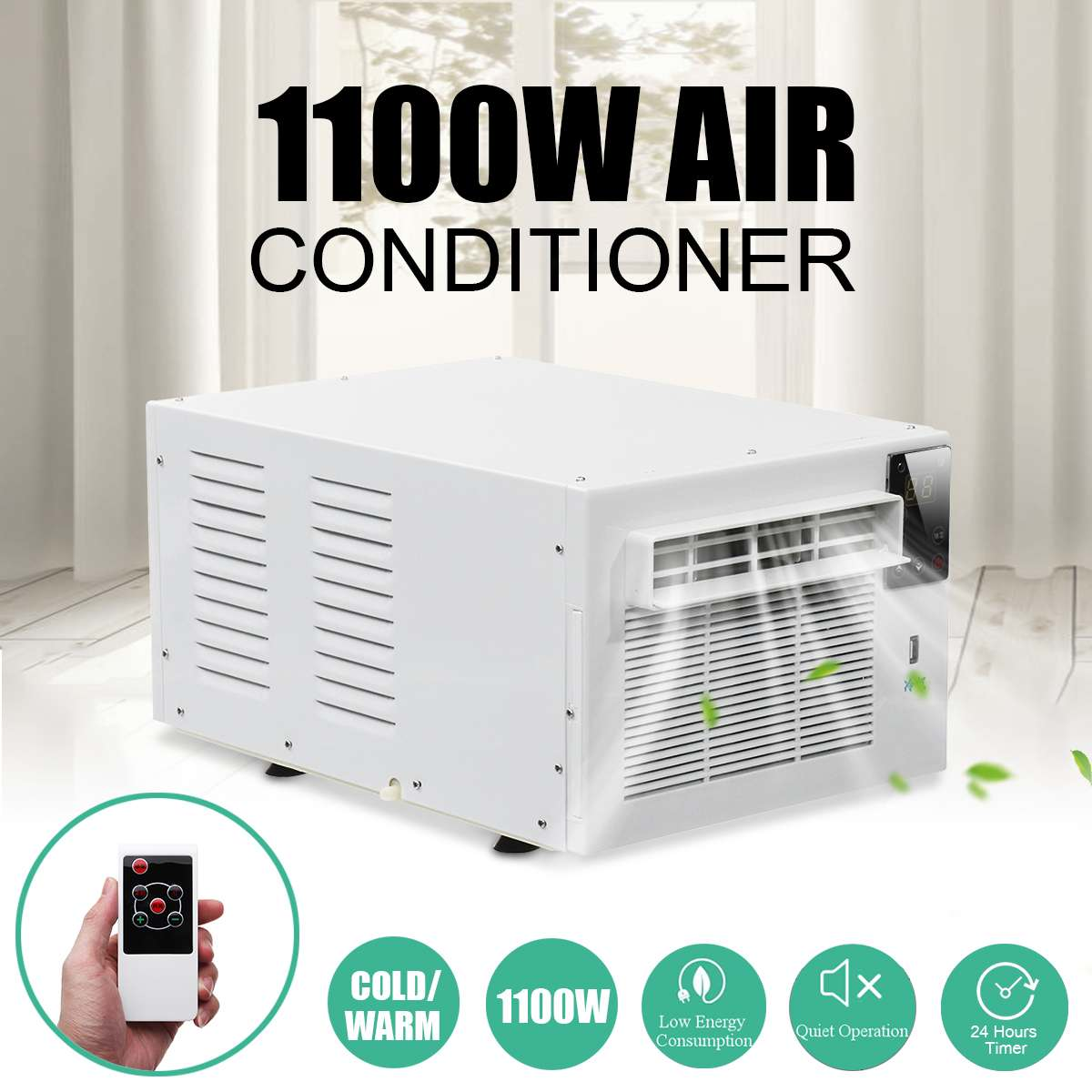1100W Desktop Air Conditioner 220V/AC 24-hour Timer Cold/Heat Dual Use With Remote Control LED Control Panel Pet Air Conditione