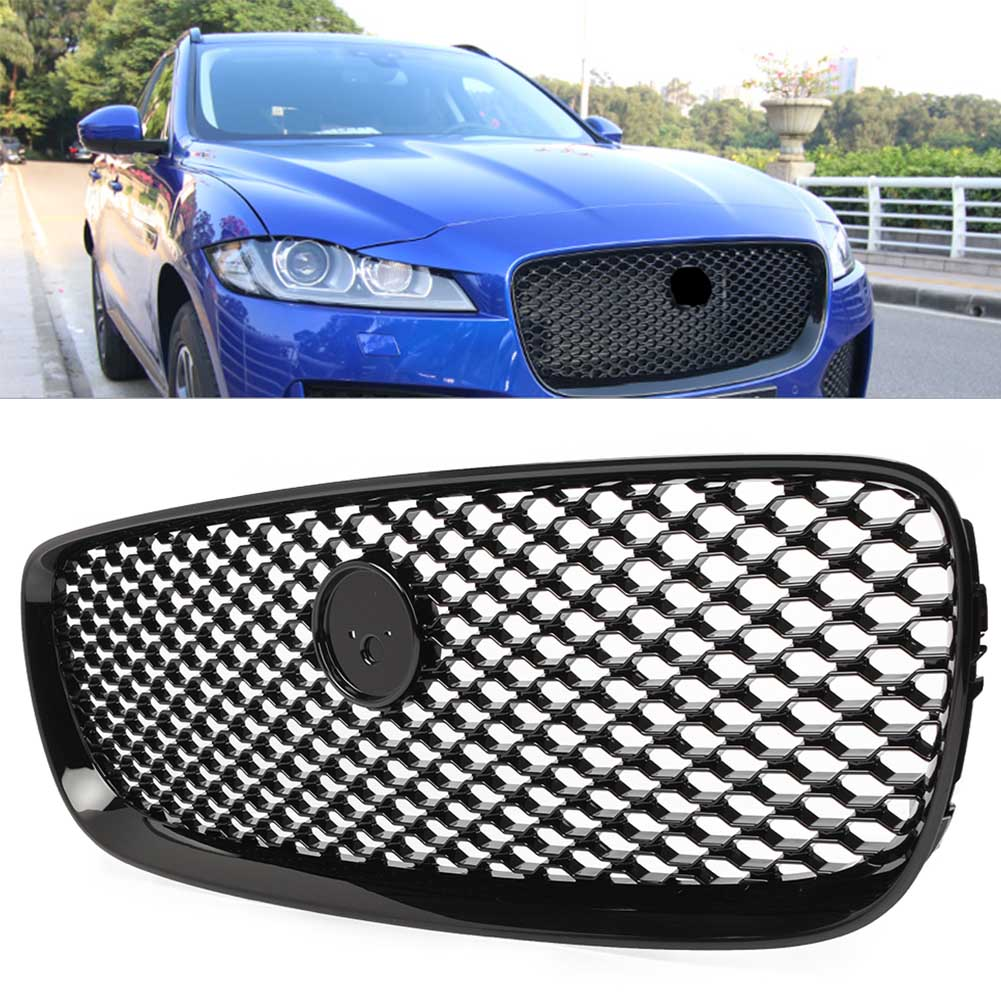 Black Front Upper Radiator Grille Mesh Grill For Jaguar XF XFR 2016 2017 2018
