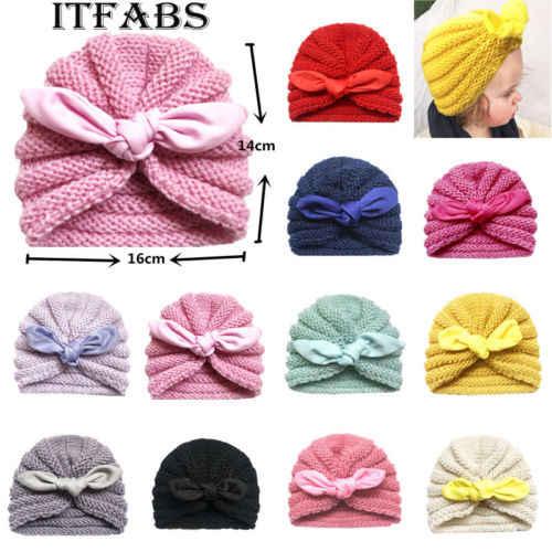 Cute Baby Girls Boys Toddler Child Kids Warm Winter Bow Crochet Wool Knit Beanie Hat woolen hat