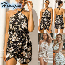 цена на Summer Dresses 2019 New Women Sexy Sleeveless Halterneck Loose Mini Dress Floral Print High Waist Short Dress