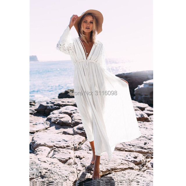 0aa0a68b1eae4 Kaftan Beach Long Dress Swimwear Tunics Beach 2019 White Dress Beachwear  Cover ups Robe Crochet Playa